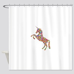 Prismatic Rainbow Unicorn Shower Curtain