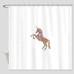 Prismatic Rainbow Unicorn Shower Curtain