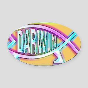 Original Darwin Fish (Neon) Oval Car Magnet