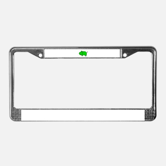 Green Hippo License Plate Frame