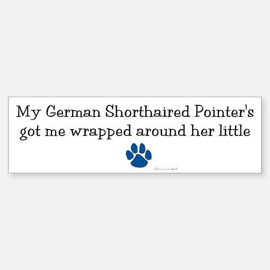 Wrapped Around Her Paw (German SH Pointer) Bumper Bumper Sticker