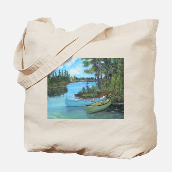 Canoe Painting Tote Bag