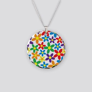 Flowers Colorful Necklace Circle Charm