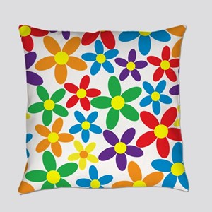 Flowers Colorful Everyday Pillow