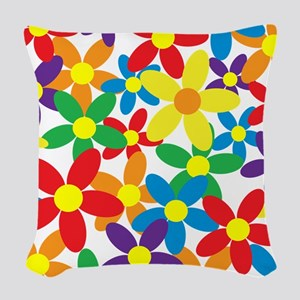 Flowers Colorful Woven Throw Pillow