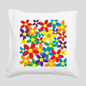 Flowers Colorful Square Canvas Pillow