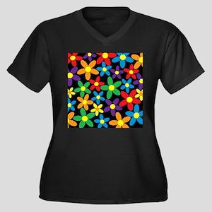 Flowers Colorful Plus Size T-Shirt