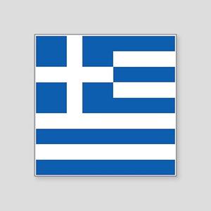 """Greece Flag Square Sticker 3"""" x 3"""""""
