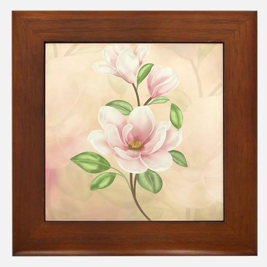 Magnolia Flower Blossom Framed Tile