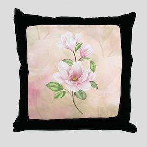 Magnolia Flower Blossom Throw Pillow