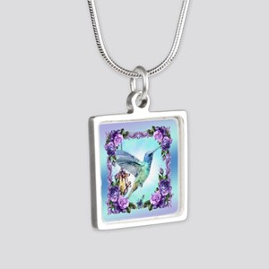 Watercolor Hummingbird Silver Square Necklaces