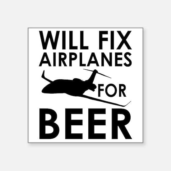 """Unique Airplane Square Sticker 3"""" x 3"""""""