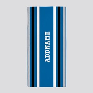 Blue Black White Jersey Stripes Person Beach Towel