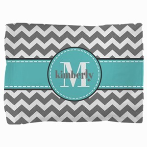 Gray and Turquoise Chevron Custom Monogram Pillow