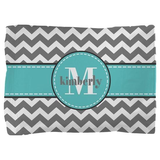 Gray and Turquoise Chevron Custom Monogram Pillow