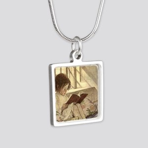 Vintage Books in Winter, Child Reading Necklaces