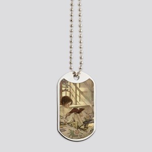 Vintage Books in Winter, Child Reading Dog Tags