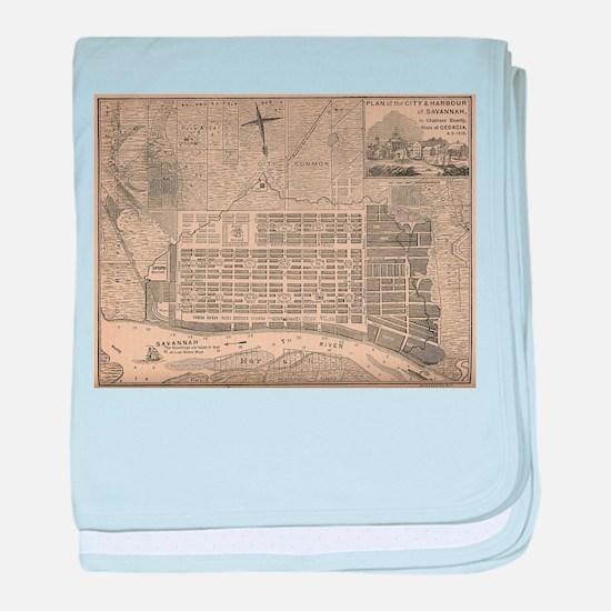 Vintage Map of Savannah Georgia (1818 baby blanket