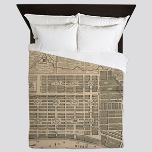 Vintage Map of Savannah Georgia (1818) Queen Duvet