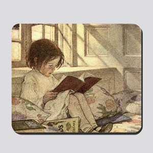 Vintage Books in Winter, Child Reading Mousepad