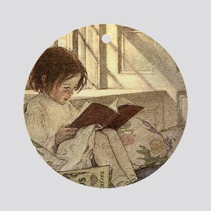 Vintage Books in Winter, Child Re Ornament (Round)
