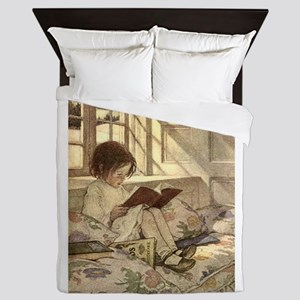 Vintage Books in Winter, Child Reading Queen Duvet