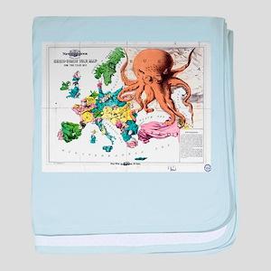 Vintage Political Cartoon Map of Euro baby blanket