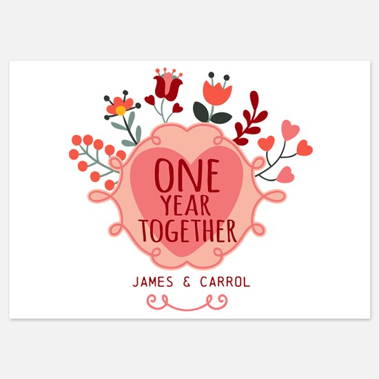 Personalized Retro Floral 1st Year 5x7 Flat Cards