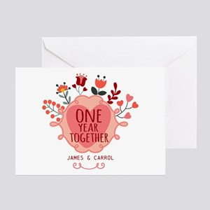 First wedding anniversary greeting cards cafepress personalized retro floral 1st year a greeting card m4hsunfo
