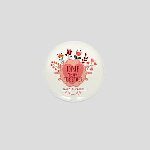 Personalized Retro Floral 1st Year Ann Mini Button