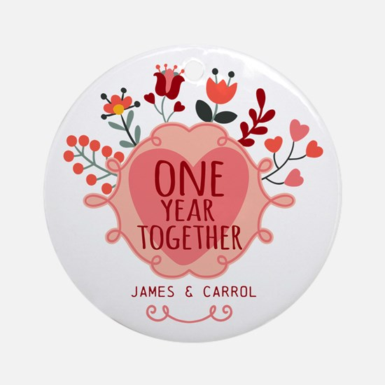 Personalized Retro Floral 1st Yea Ornament (Round)