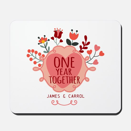 Personalized Retro Floral 1st Year Anniv Mousepad