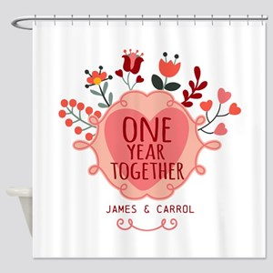 Personalized Retro Floral 1st Year Shower Curtain