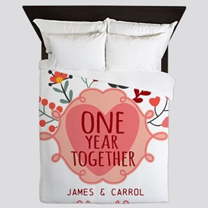 Personalized Retro Floral 1st Year Ann Queen Duvet