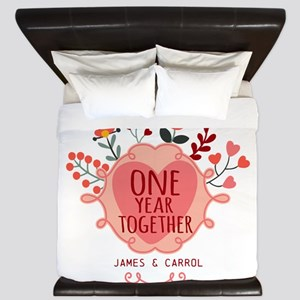 Personalized Retro Floral 1st Year Anni King Duvet