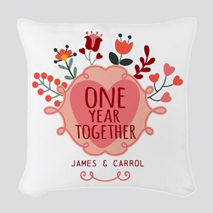 Personalized Retro Floral 1st Woven Throw Pillow