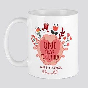 Personalized Retro Floral 1st Year Anni Mug