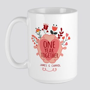 Personalized Retro Floral 1st Year Anni Large Mug