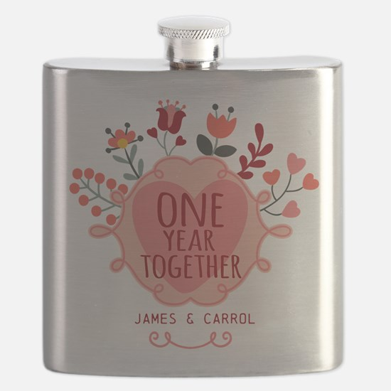 Personalized Retro Floral 1st Year Anniversa Flask