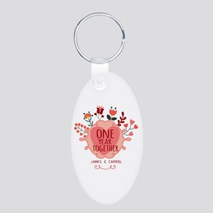 Personalized Retro Floral 1 Aluminum Oval Keychain