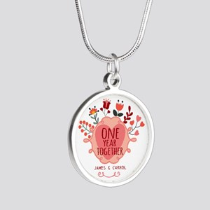 Personalized Retro Floral 1s Silver Round Necklace