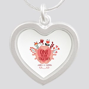 Personalized Retro Floral 1s Silver Heart Necklace