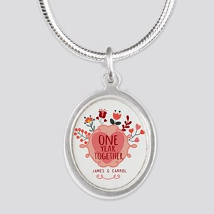 Personalized Retro Floral 1st Silver Oval Necklace