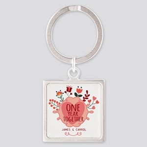 Personalized Retro Floral 1st Year Square Keychain