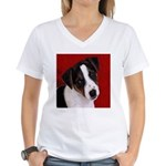 JRT Puppy Ink Sketch Women's V-Neck T-Shirt