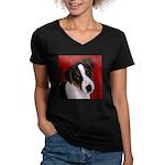 JRT Puppy Ink Sketch Women's V-Neck Dark T-Shirt