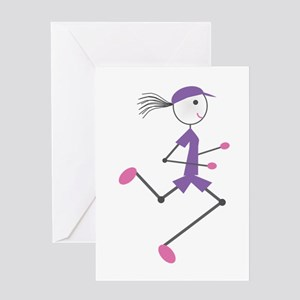 Lady Runner Greeting Cards