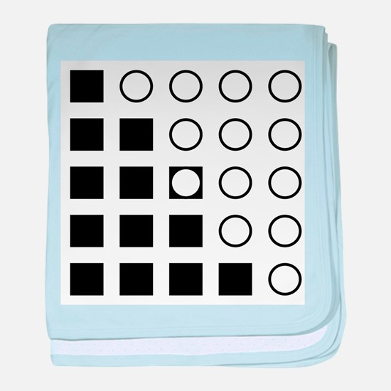 Squares Circles black and white baby blanket