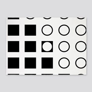 Squares Circles black and white 5'x7'Area Rug