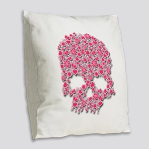 heart skull Burlap Throw Pillow